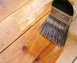 Varnish brush strokes on a wooden floor